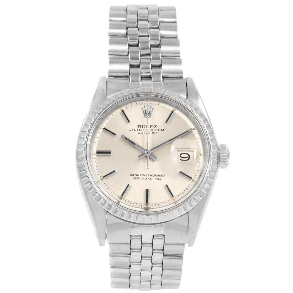 20467 Rolex Datejust Silver Dial Jubilee Bracelet Vintage Mens Watch 1603 SwissWatchExpo