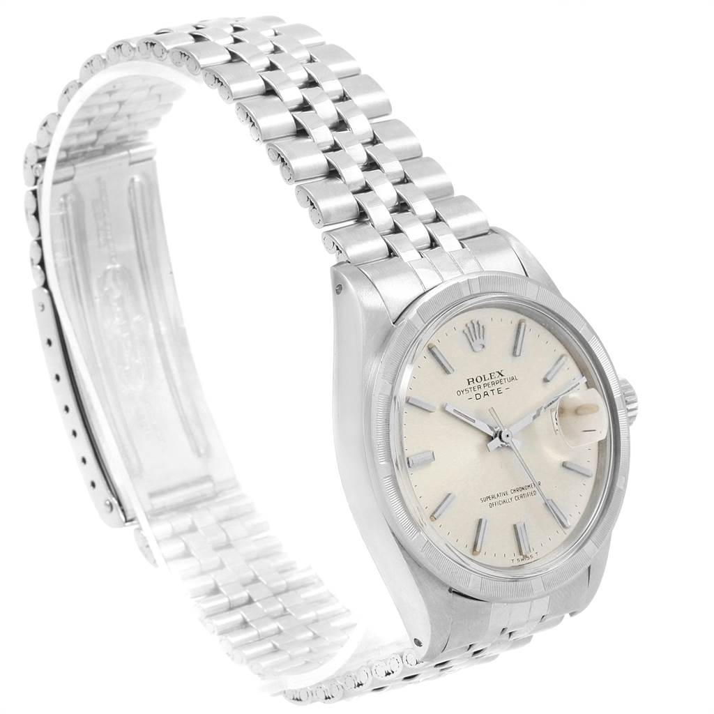 21505 Rolex Date Stainless Steel Silver Dial Vintage Mens Watch 1501 SwissWatchExpo