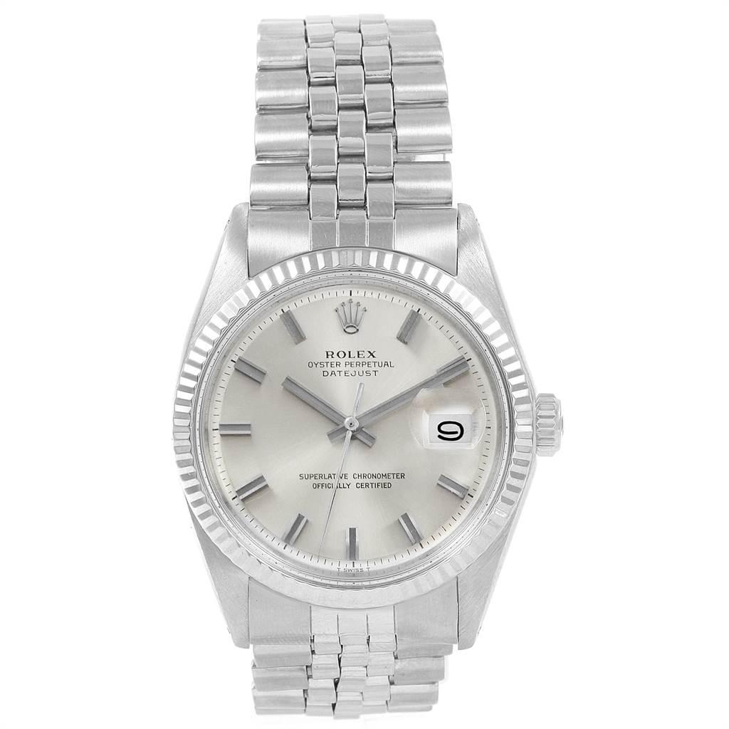 21507 Rolex Datejust Steel White Gold Silver Dial Vintage Mens Watch 1601 SwissWatchExpo