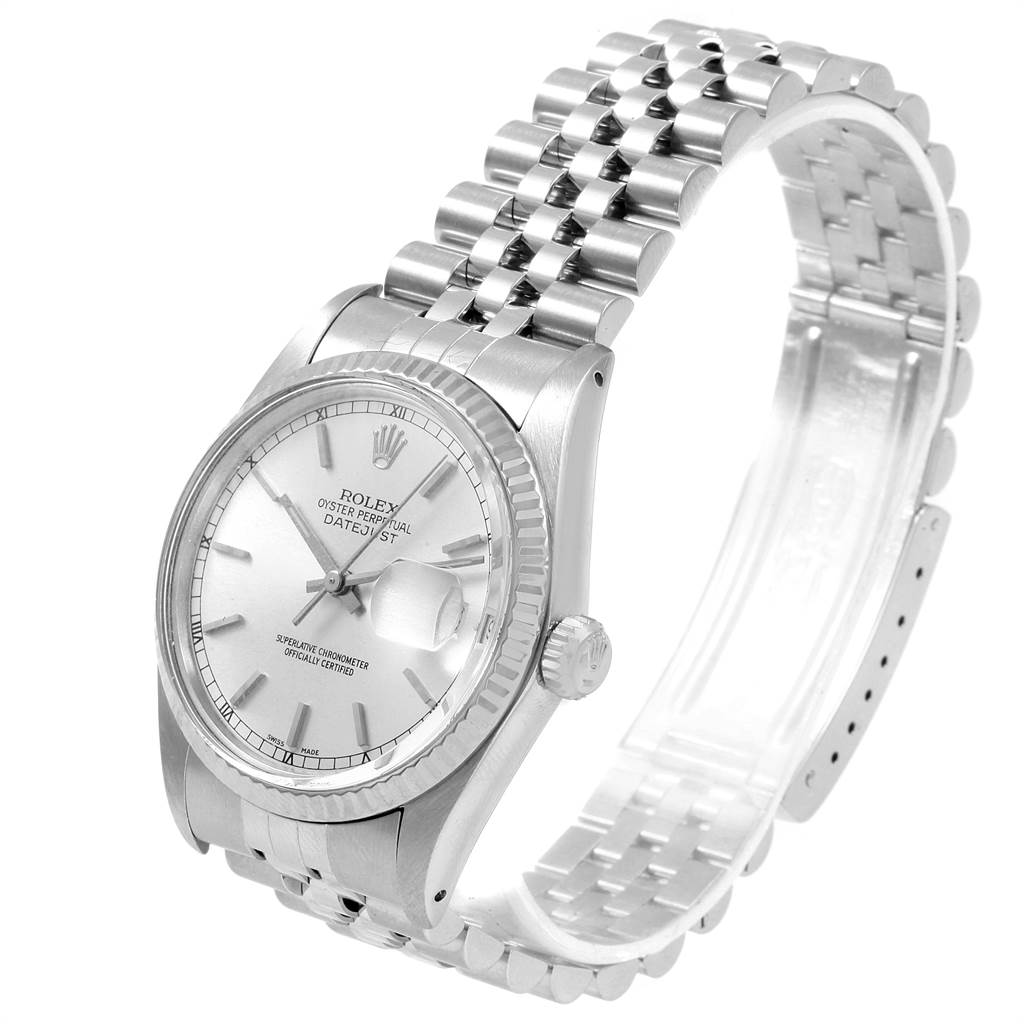 21487 Rolex Datejust Vintage Steel White Gold Silver Dial Mens Watch 16014 SwissWatchExpo