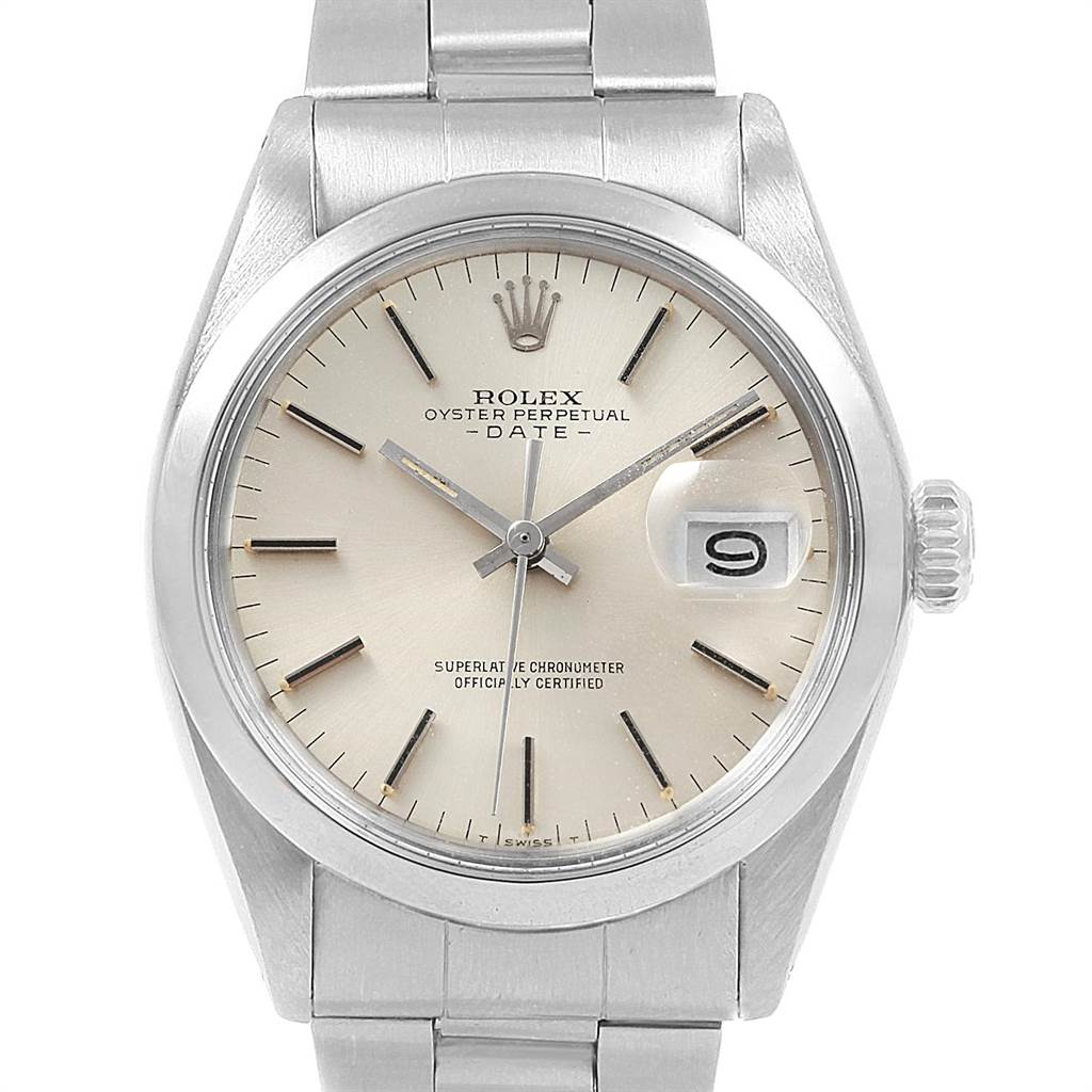 21497 Rolex Date Silver Dial Automatic Steel Vintage Mens Watch 1500 SwissWatchExpo