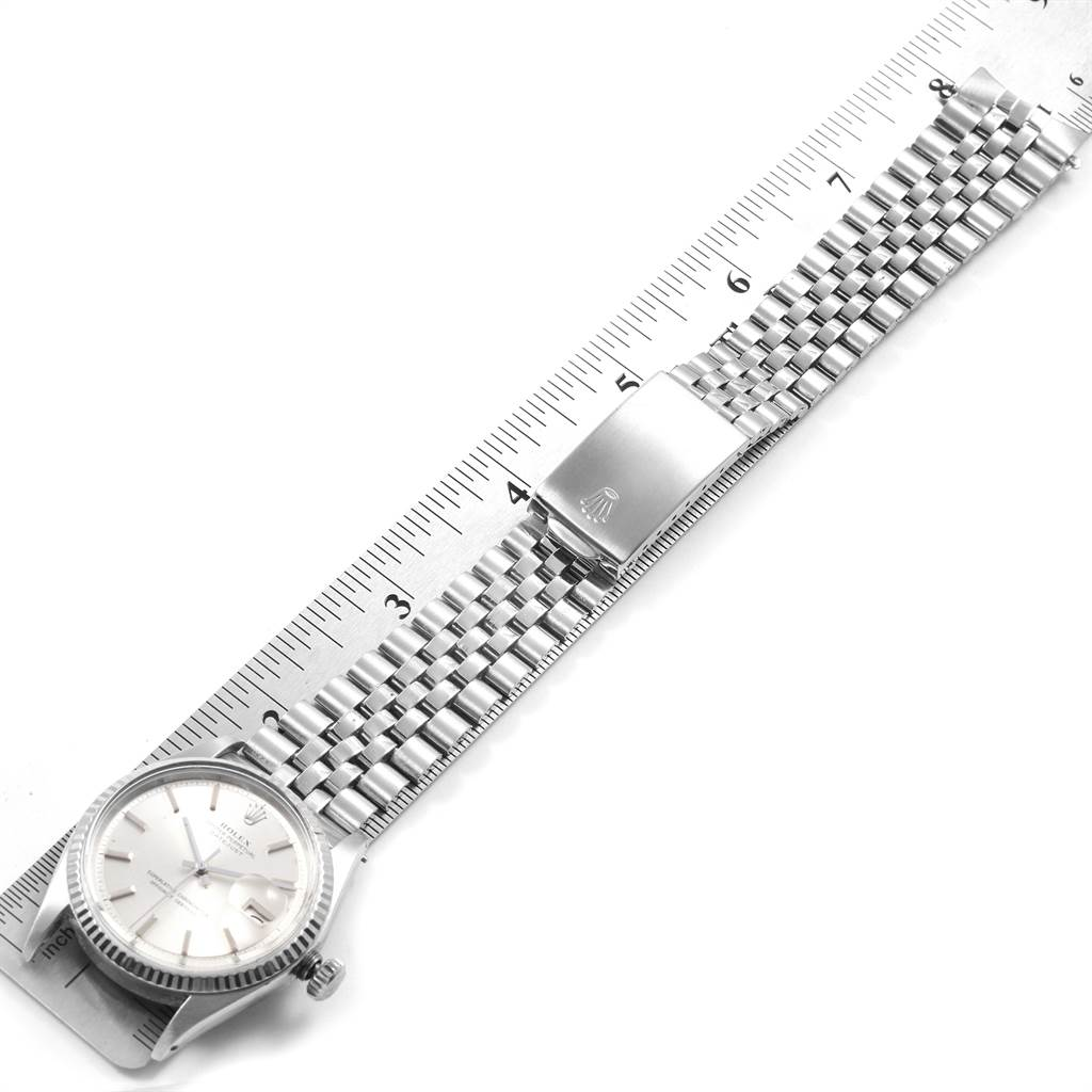20461 Rolex Datejust Steel White Gold Silver Dial Vintage Mens Watch 1601 SwissWatchExpo