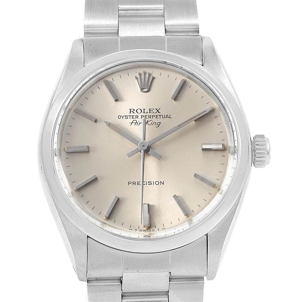 1345ef11c4b5 ... 21709 Rolex Air King Vintage Stainless Steel Silver Dial Mens Watch 5500  SwissWatchExpo ...
