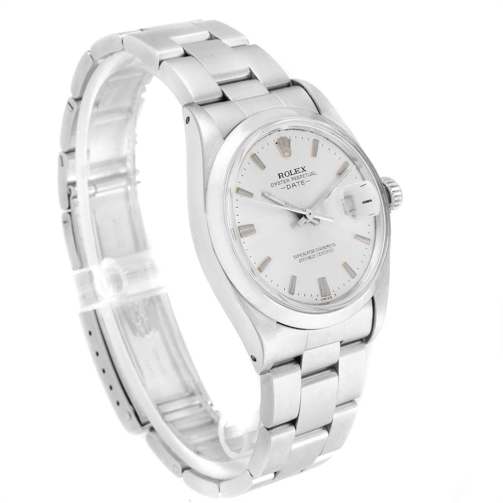 21498 Rolex Date Silver Dial Automatic Steel Vintage Mens Watch 1500 SwissWatchExpo