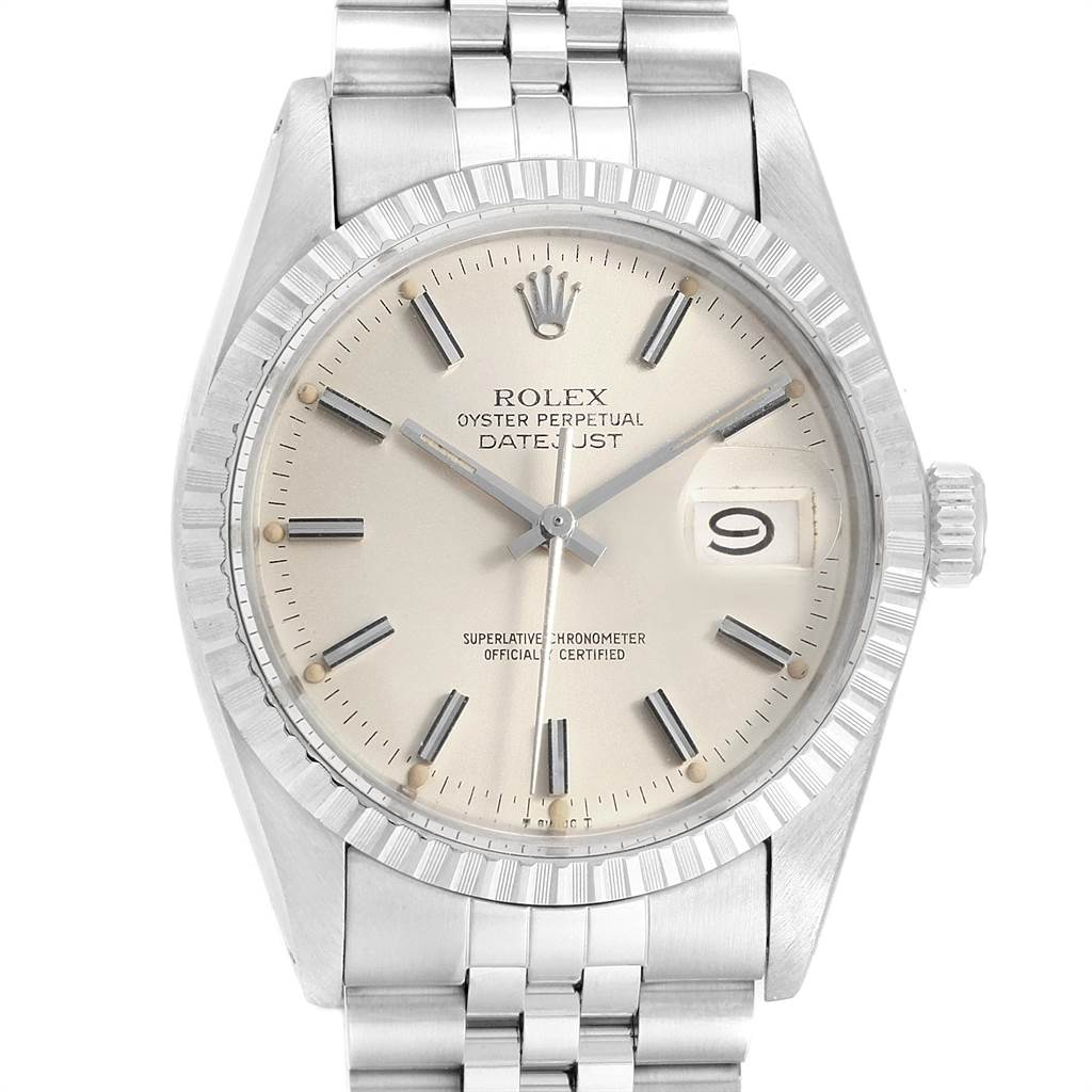 21557 Rolex Datejust 36mm Silver Dial Steel Vintage Mens Watch 16030 SwissWatchExpo