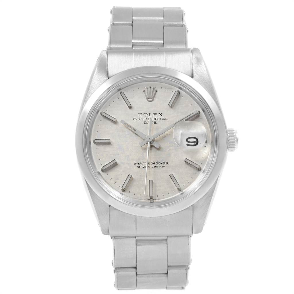 21508 Rolex Date Silver Dial Automatic Steel Vintage Mens Watch 1500 SwissWatchExpo