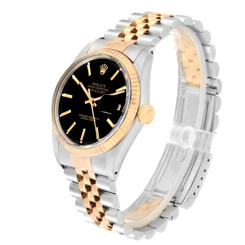 21870 Rolex Datejust Steel Yellow Gold Black Dial Vintage Mens Watch 16013 SwissWatchExpo
