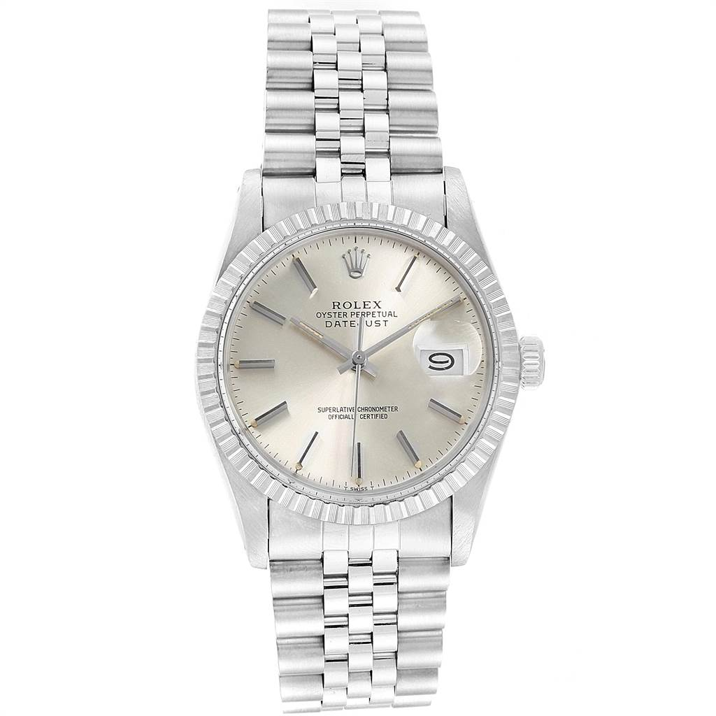 21868 Rolex Datejust Vintage Silver Dial Steel Mens Watch 16030 SwissWatchExpo