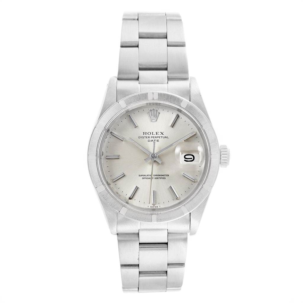 21883 Rolex Date Vintage Silver Baton Dial Stainless Steel Mens Watch 1501 SwissWatchExpo