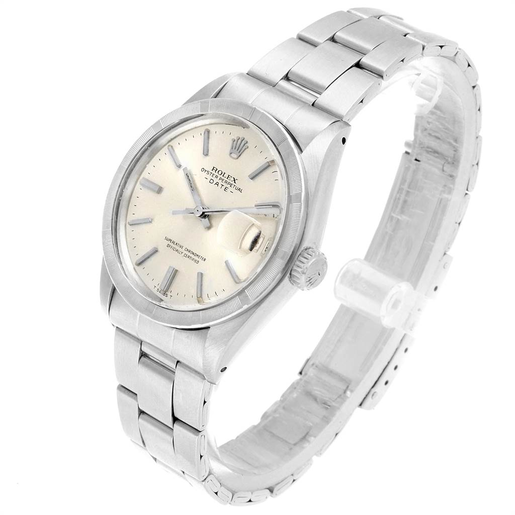 21862 Rolex Date Vintage Silver Baton Dial Stainless Steel Mens Watch 1501 SwissWatchExpo