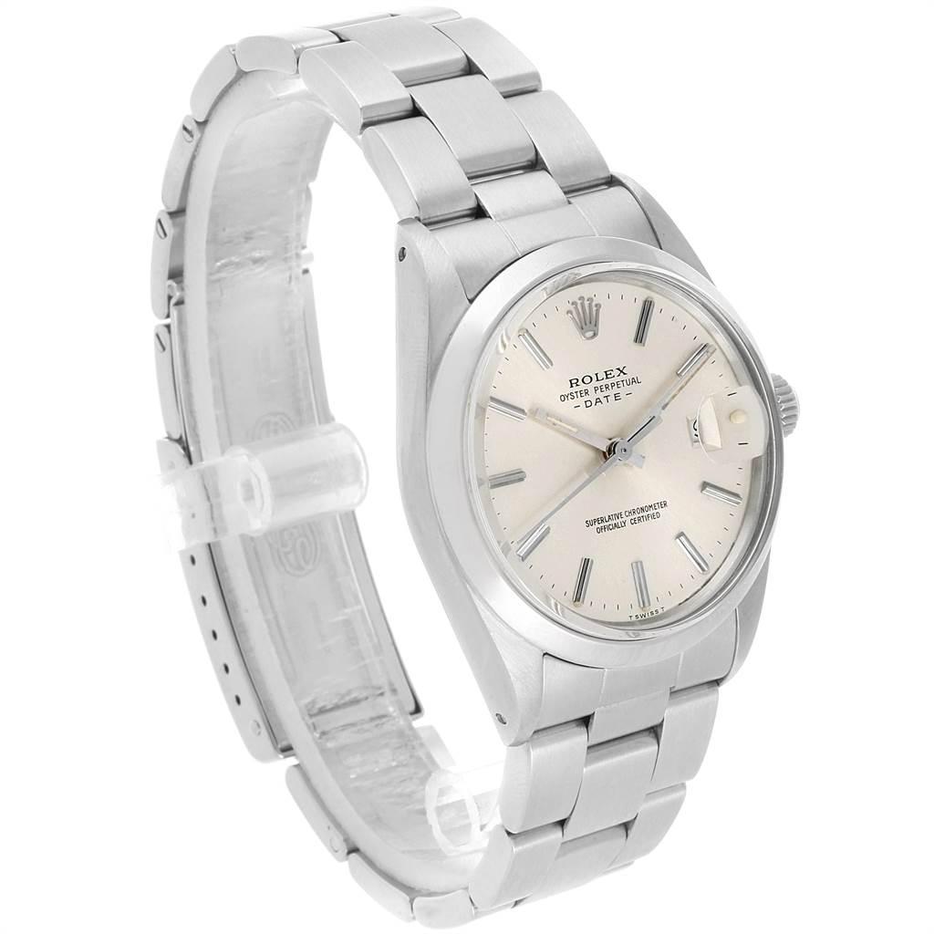 21863 Rolex Date Stainless Steel Silver Dial Vintage Mens Watch 15000 SwissWatchExpo