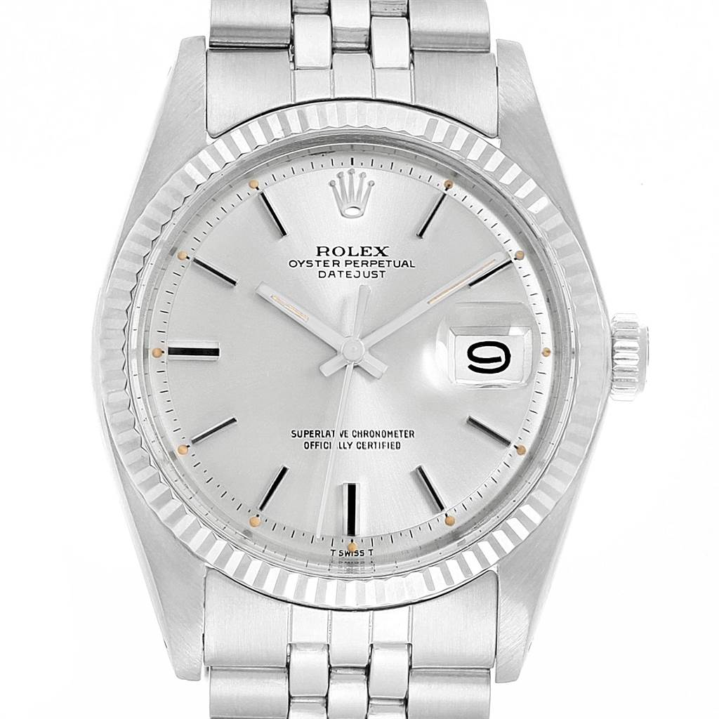 21827 Rolex Datejust Steel White Gold Silver Dial Vintage Mens Watch 1601 SwissWatchExpo