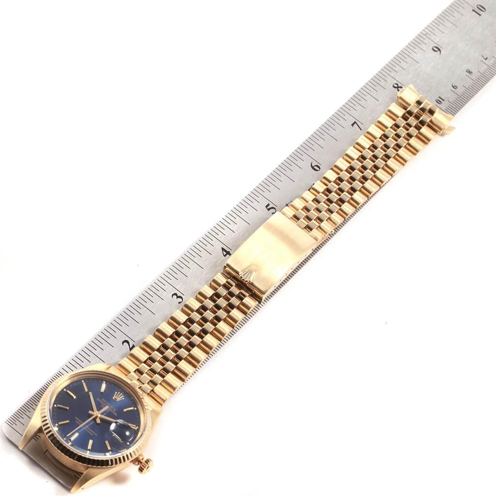 21591 Rolex Date Mens 14K Yellow Gold Blue Dial Vintage Mens Watch 15037 SwissWatchExpo