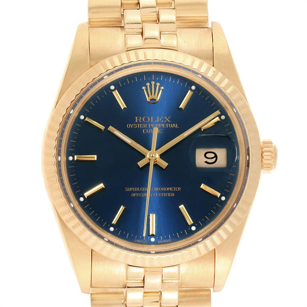 21591 Rolex Date Mens 14K Yellow Gold Blue Dial Vintage Mens Watch 15037 SwissWatchExpo