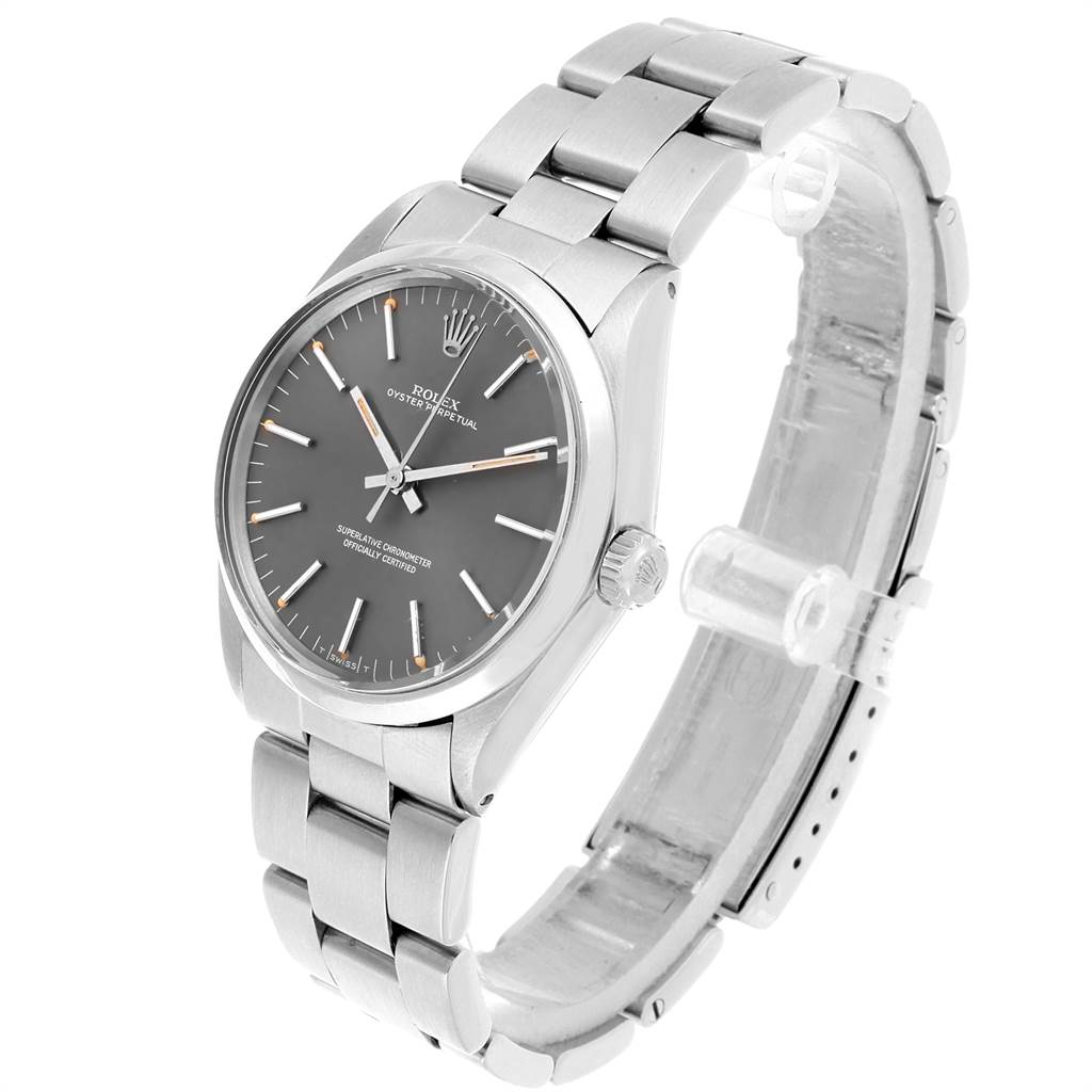 21893 Rolex Oyster Perpetual Grey Dial Vintage Steel Mens Watch 1002 SwissWatchExpo