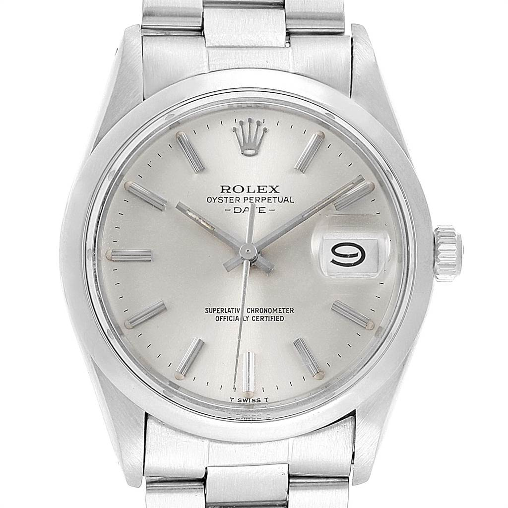 21849 Rolex Date Stainless Steel Silver Dial Vintage Mens Watch 15000 SwissWatchExpo