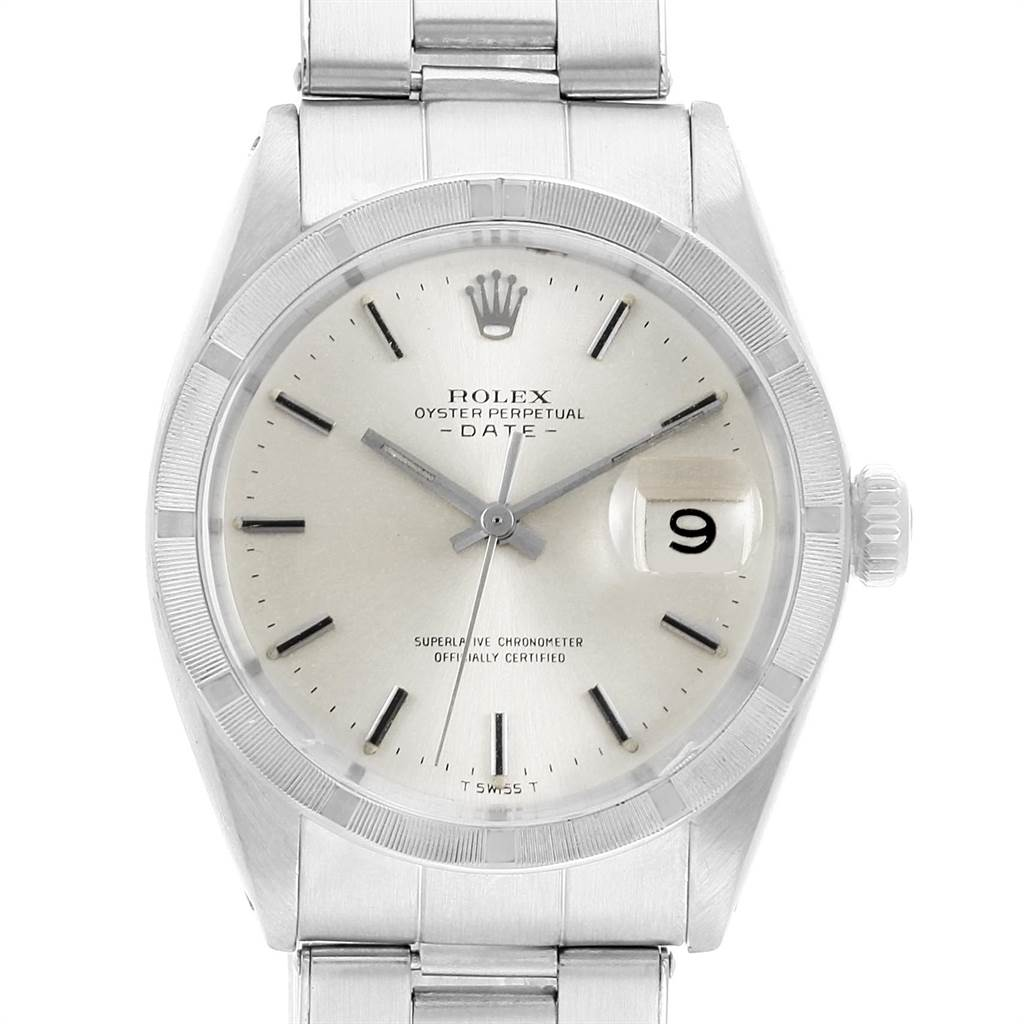 21829X Rolex Date Vintage White Dial Stainless Steel Mens Watch 1501 SwissWatchExpo