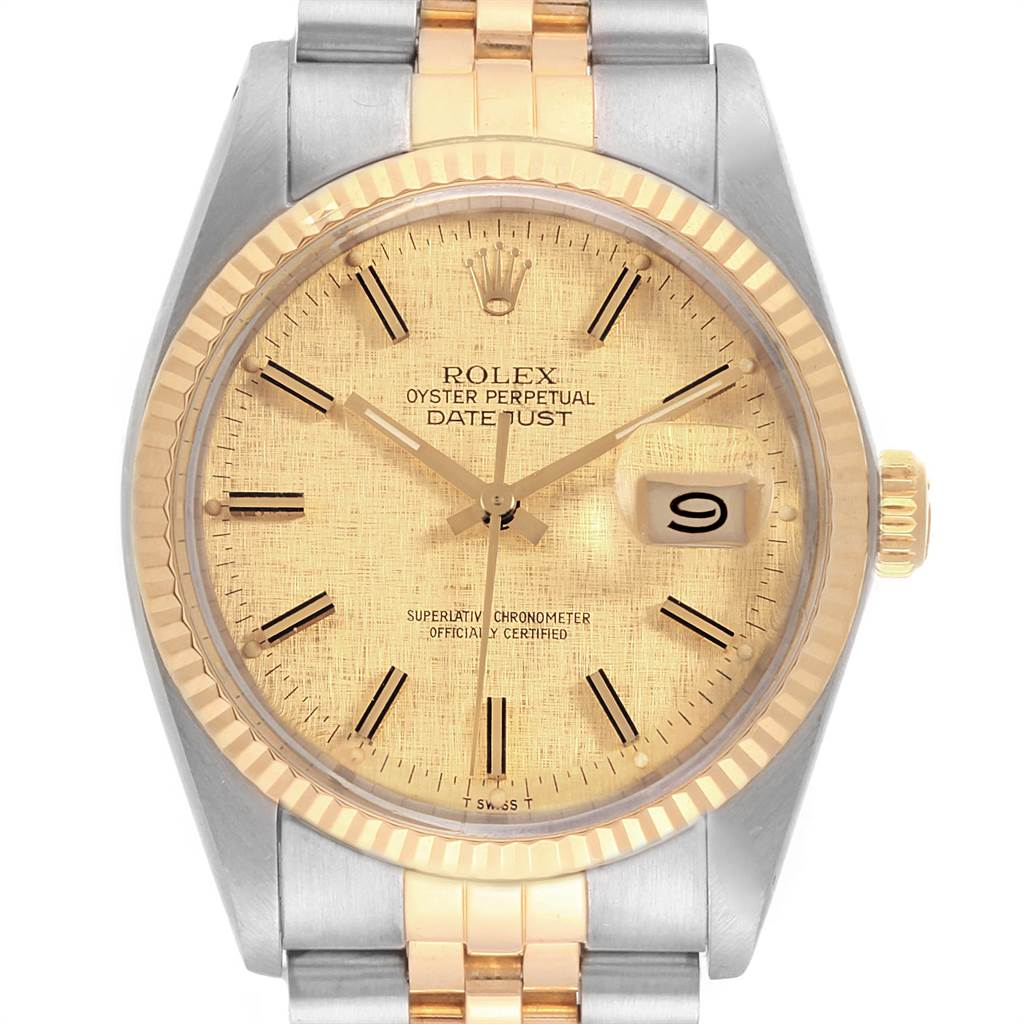 21984 Rolex Datejust 36 Steel Yellow Gold Vintage Mens Watch 16013 Box Papers SwissWatchExpo
