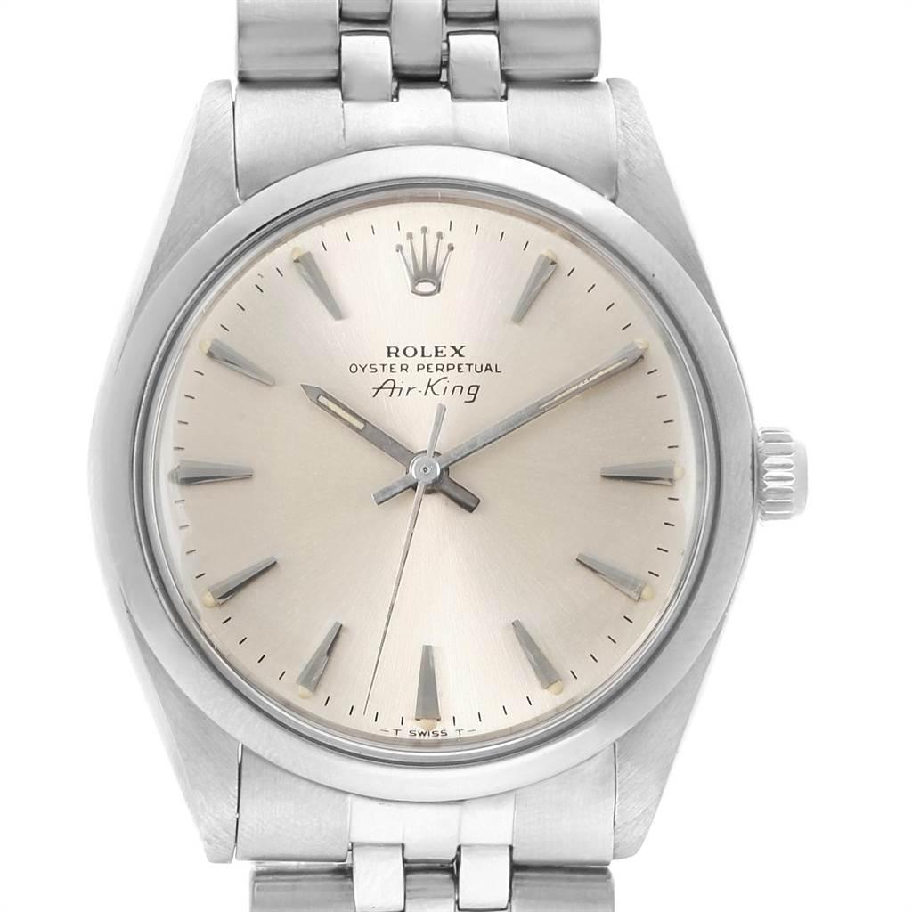 Rolex Air King Vintage Silver Dial Jubilee Bracelet Mens Watch 5500