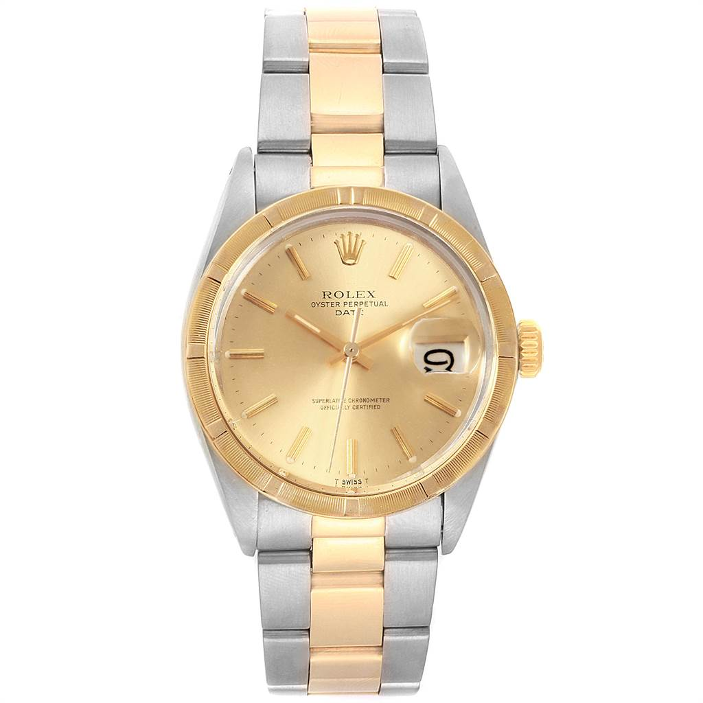 22250 Rolex Date Steel Yellow Gold Oyster Bracelet Vintage Mens Watch 1500 SwissWatchExpo