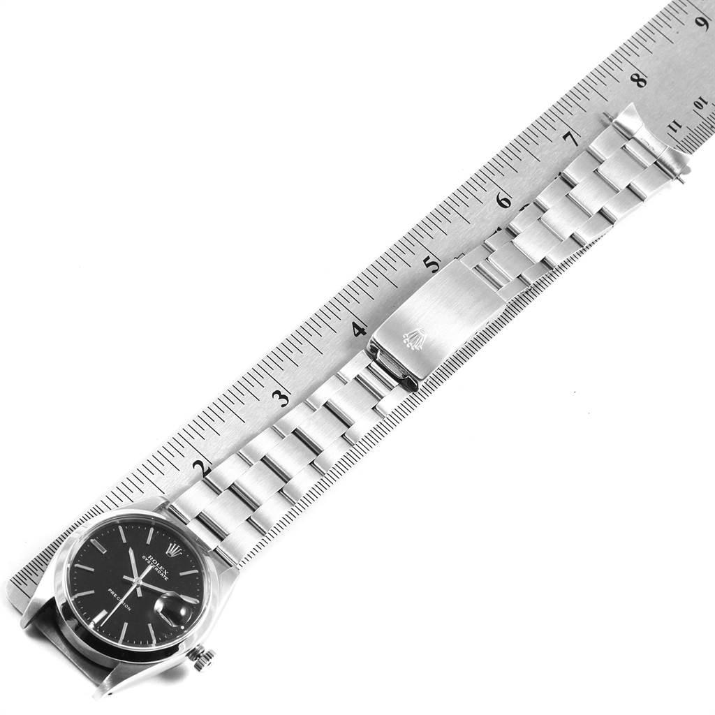 22229 Rolex OysterDate Precision Black Dial Steel Vintage Mens Watch 6694 SwissWatchExpo