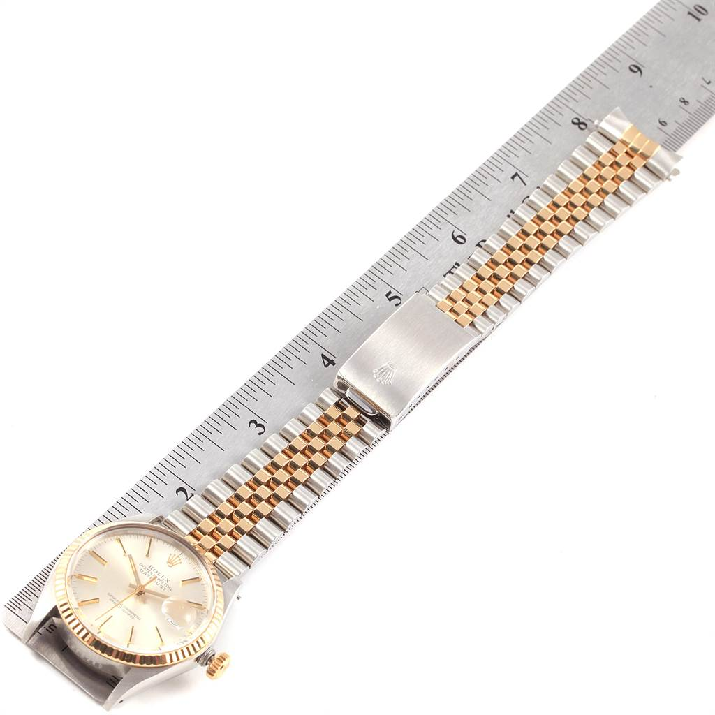 22317 Rolex Datejust Steel Yellow Gold Silver Dial Vintage Mens Watch 16013 SwissWatchExpo