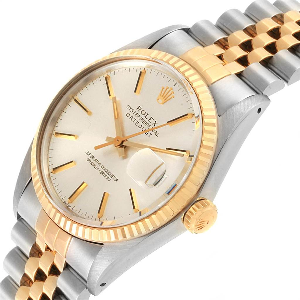 Rolex Datejust Steel Yellow Gold Silver Dial Vintage Mens Watch 16013 SwissWatchExpo
