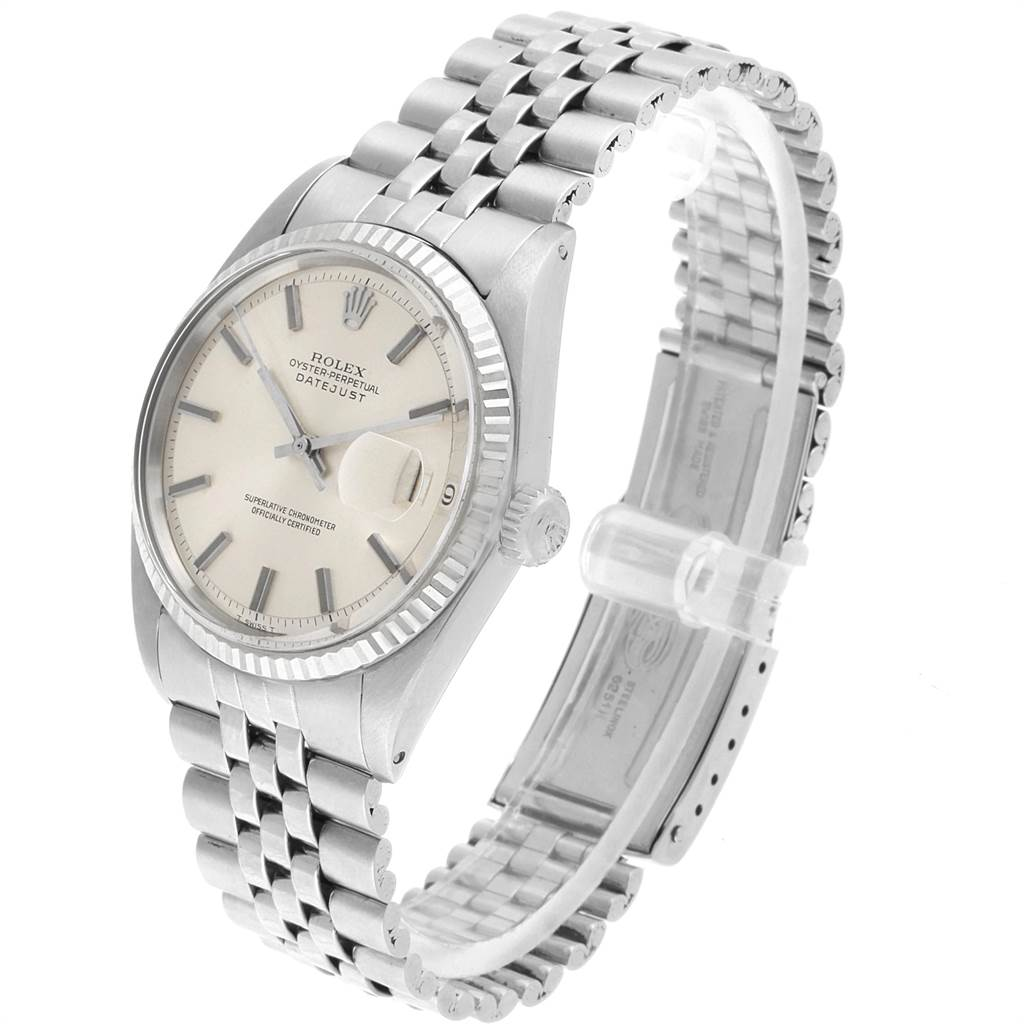 21289 Rolex Datejust Steel White Gold Silver Dial Vintage Mens Watch 1601 SwissWatchExpo