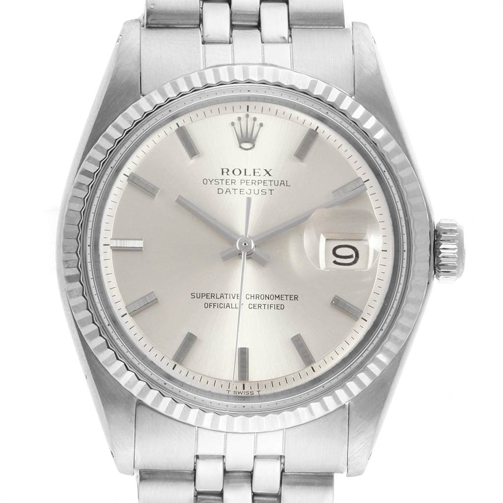 Rolex Datejust Steel White Gold Silver Dial Vintage Mens Watch 1601 SwissWatchExpo