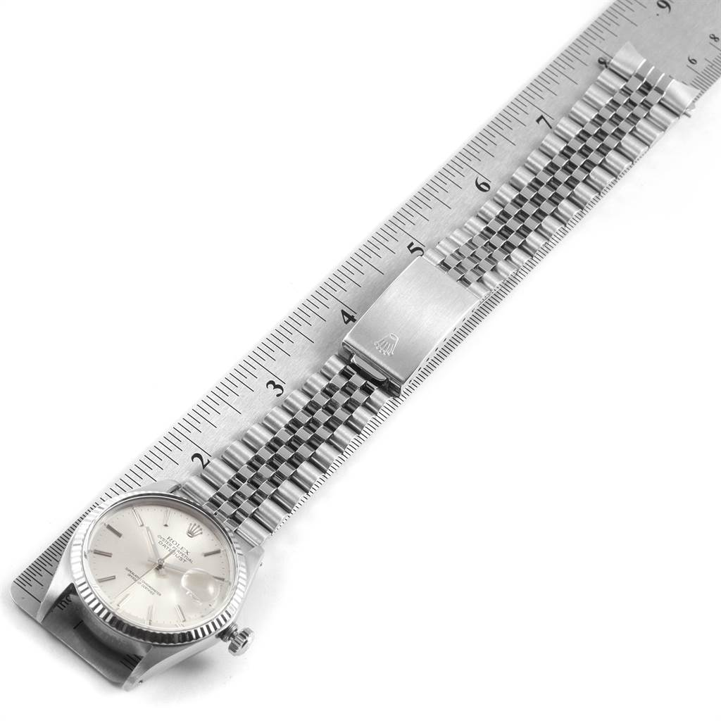 22218 Rolex Datejust Vintage Steel White Gold Silver Dial Mens Watch 16014 SwissWatchExpo