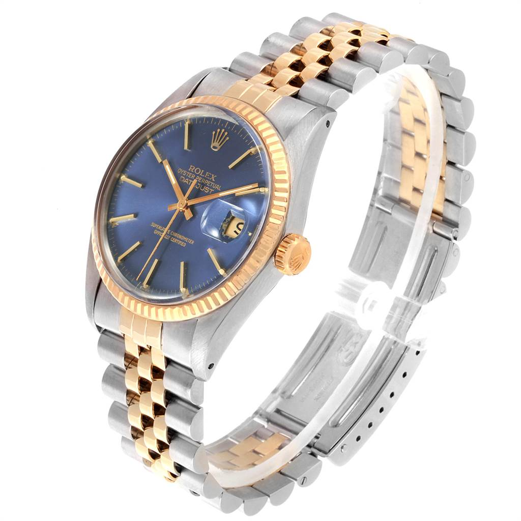 22363 Rolex Datejust Steel Yellow Gold Blue Dial Vintage Mens Watch 16013 SwissWatchExpo