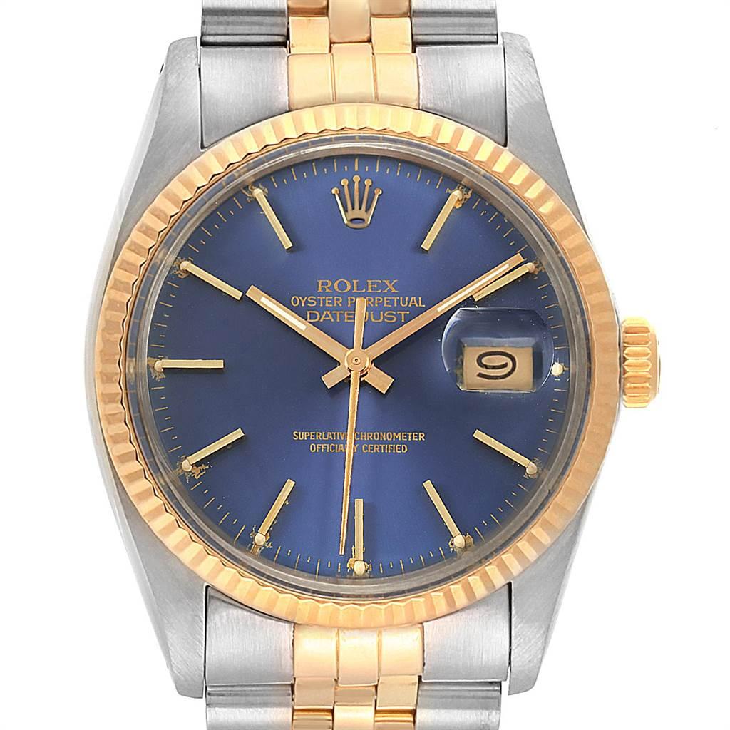 Rolex Datejust Steel Yellow Gold Blue Dial Vintage Mens Watch 16013 SwissWatchExpo