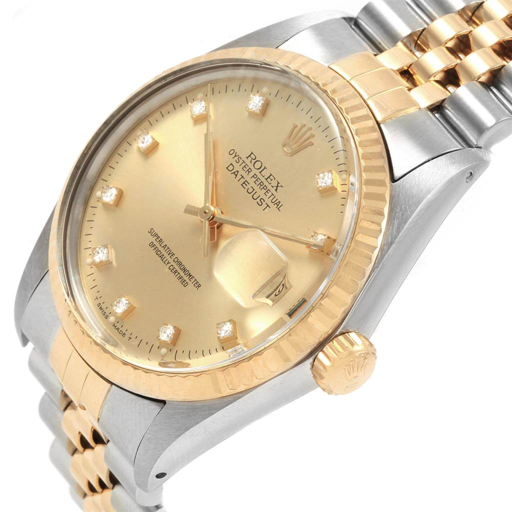 22207 Rolex Datejust Steel Yellow Gold Diamond Dial Vintage Mens Watch 16013 SwissWatchExpo