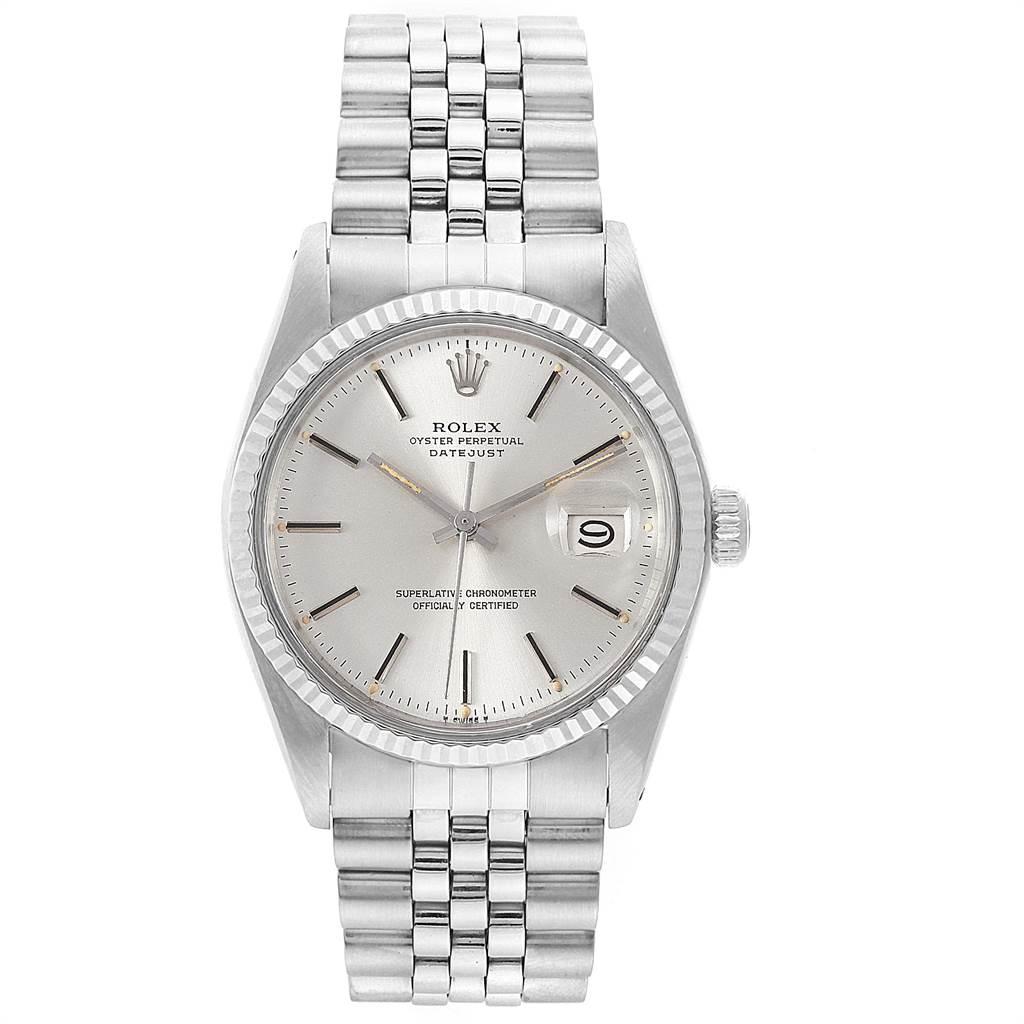 22220 Rolex Datejust Steel White Gold Fluted Bezel Vintage Mens Watch 16014 SwissWatchExpo