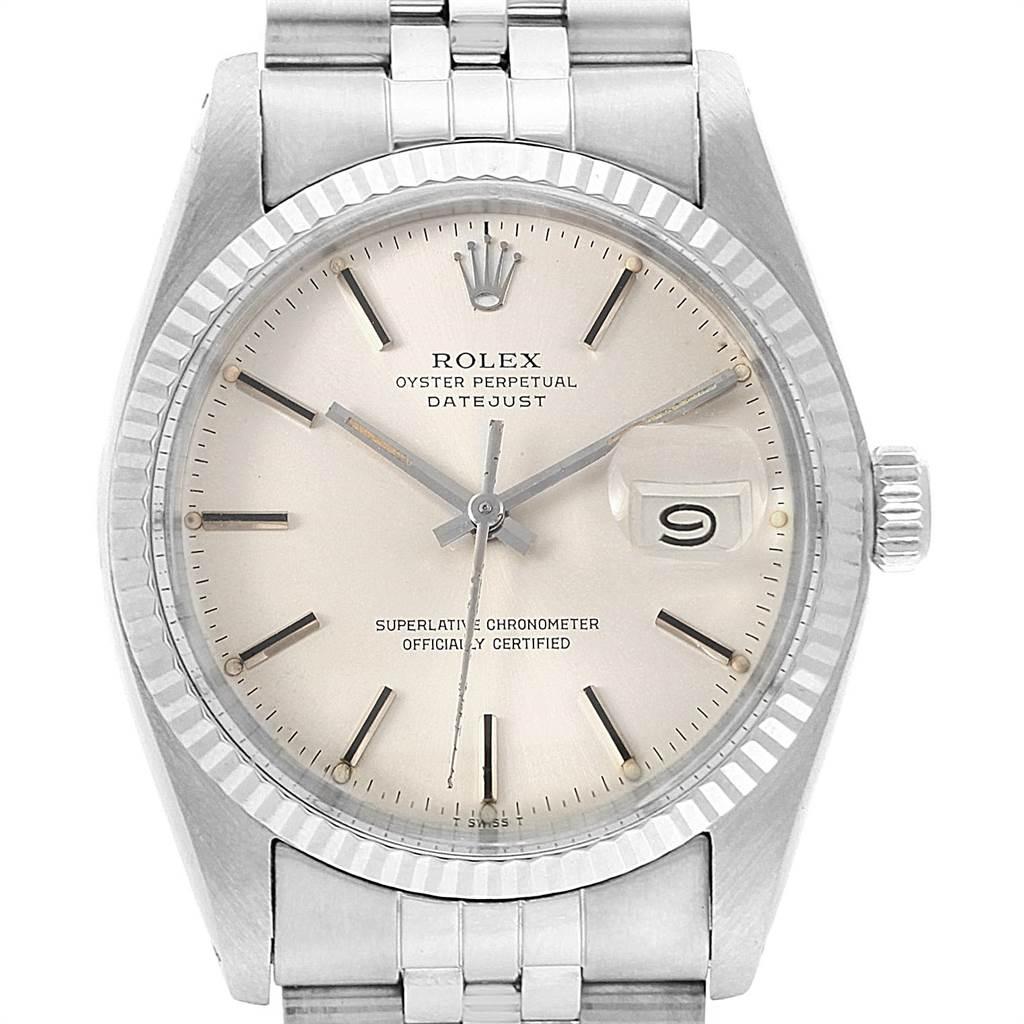 Rolex Datejust 36 Vintage Steel White Gold Automatic Mens Watch 16014 SwissWatchExpo
