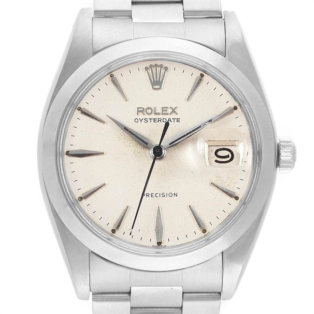 22224 Rolex OysterDate Precision Silver Dial Steel Vintage Mens Watch 6694 SwissWatchExpo