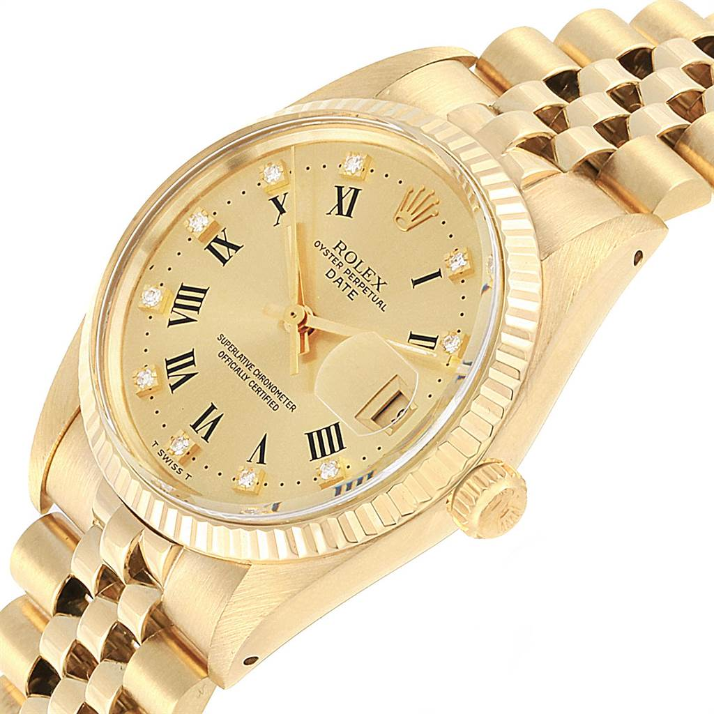 22452 Rolex Date Mens 14k Yellow Gold Diamond Vintage Mens Watch 15037 SwissWatchExpo