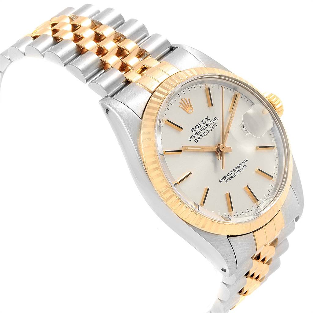 22157 Rolex Datejust Steel Yellow Gold Silver Dial Vintage Mens Watch 16013 SwissWatchExpo