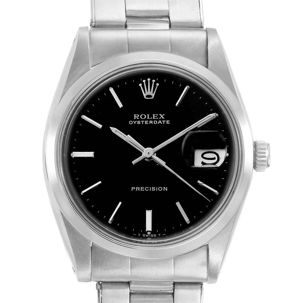 22226 Rolex OysterDate Precision Black Dial Steel Vintage Mens Watch 6694 SwissWatchExpo