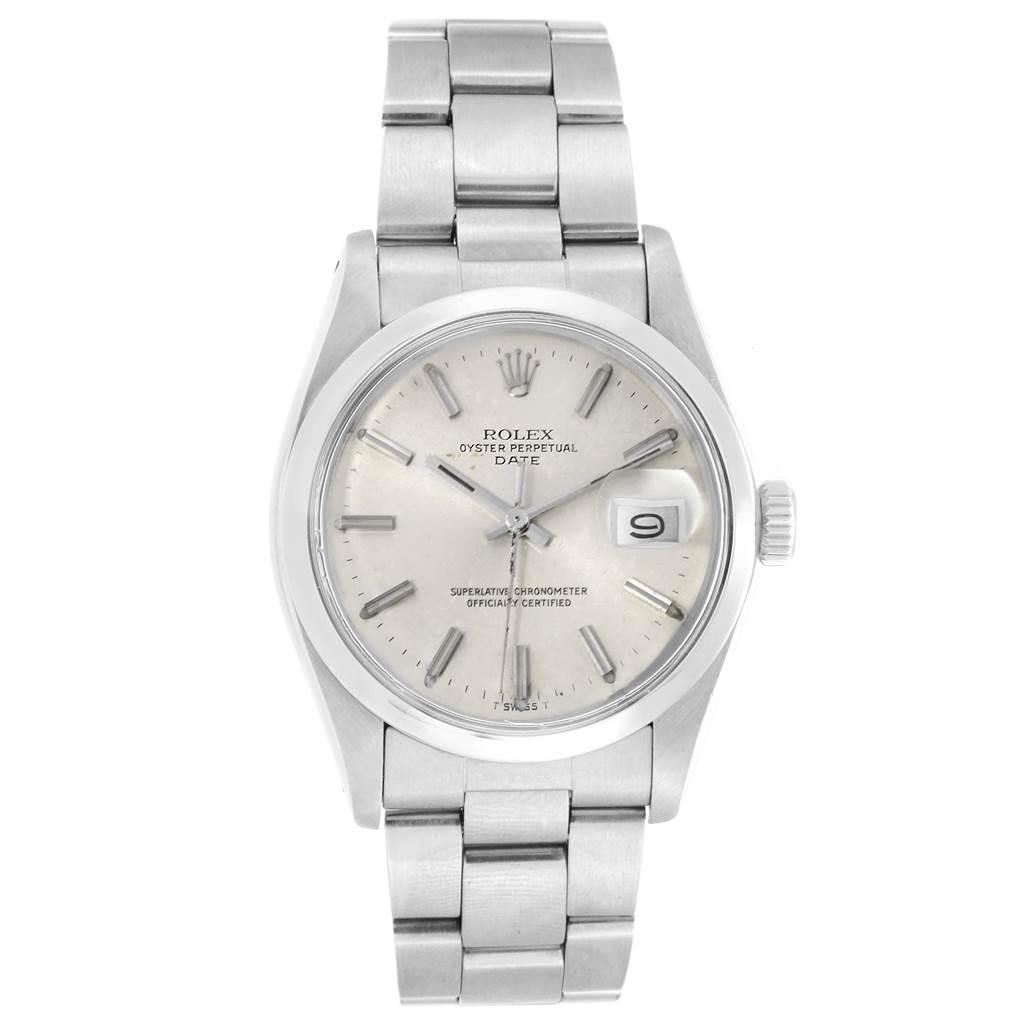 22515 Rolex Date White Dial Oyster Bracelet Steel Vintage Mens Watch 1500 SwissWatchExpo