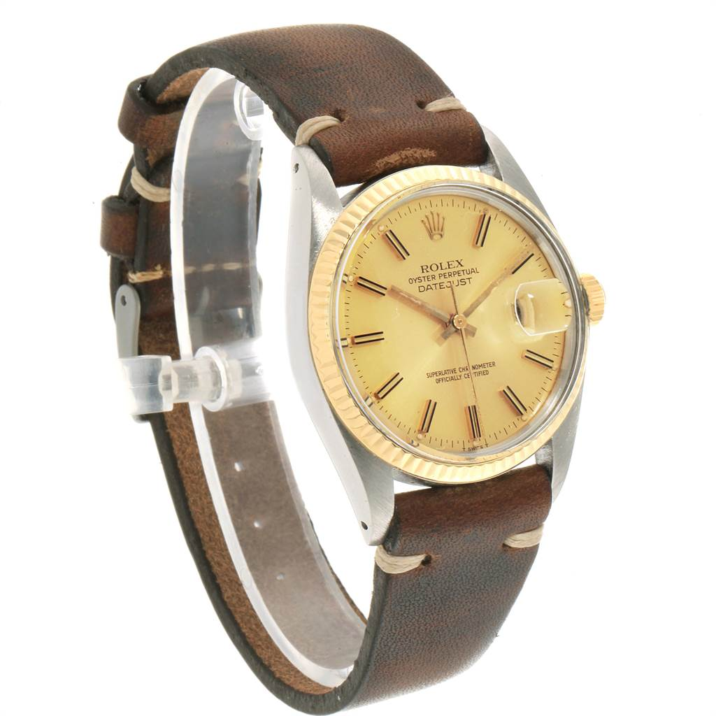 Rolex Datejust Steel Yellow Gold Brown Strap Vintage Mens Watch 16013 SwissWatchExpo