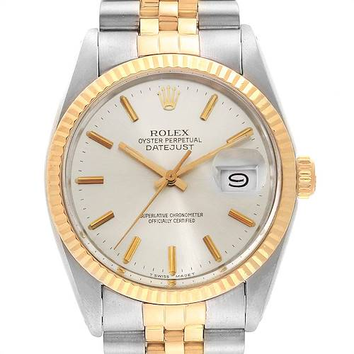 Photo of Rolex Datejust Steel Yellow Gold Silver Dial Vintage Mens Watch 16013