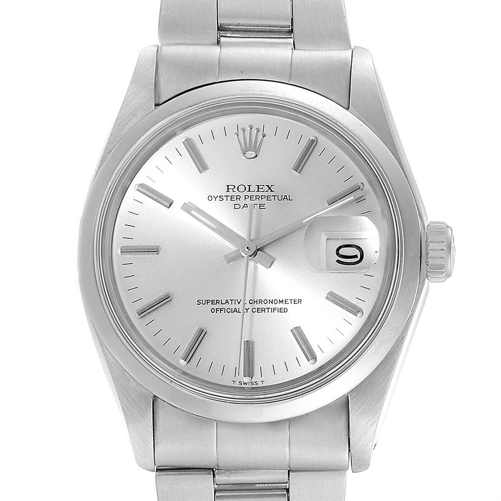 22163 Rolex Date Automatic Stainless Steel Vintage Mens Watch 1500 SwissWatchExpo