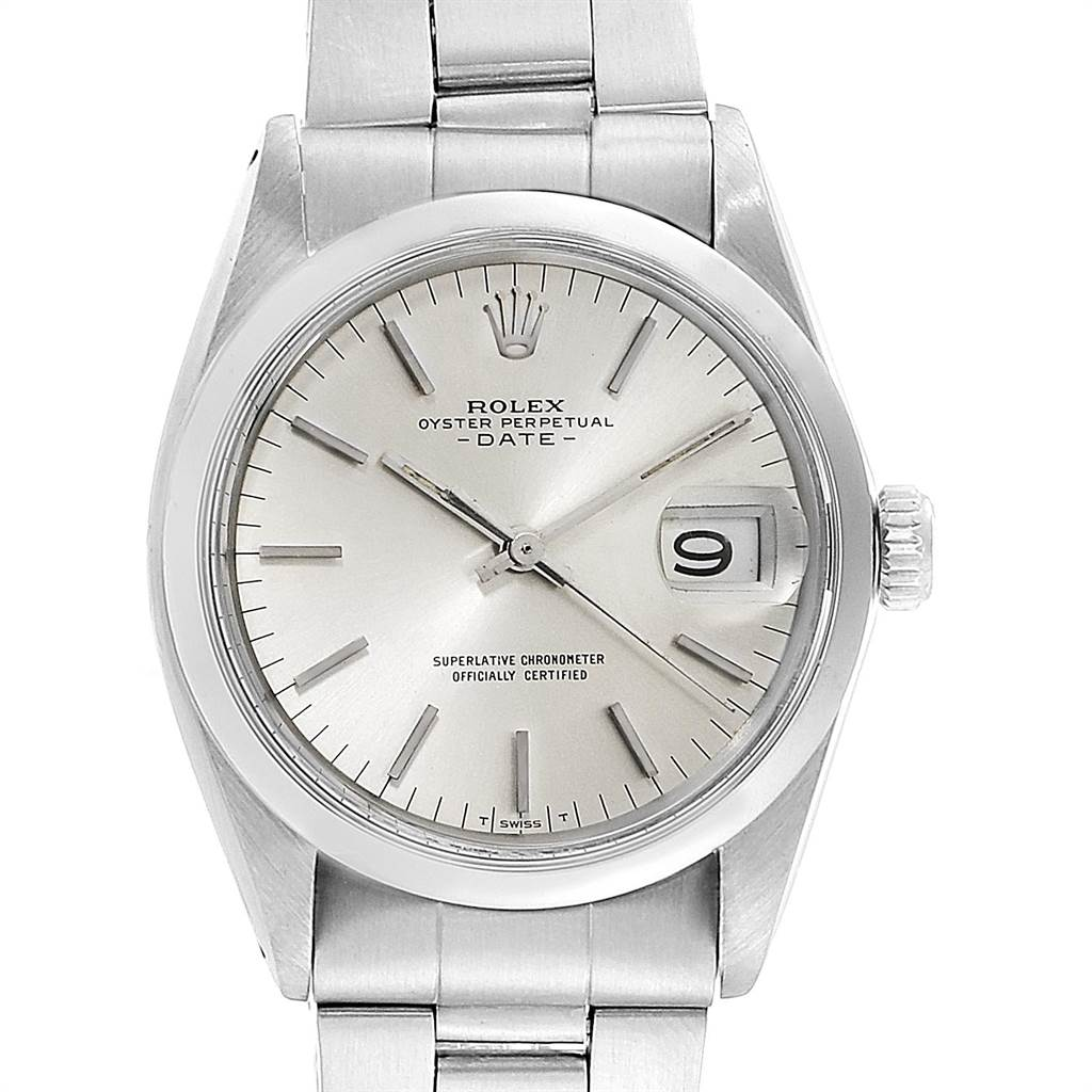 22166 Rolex Date Automatic Stainless Steel Vintage Mens Watch 1500 SwissWatchExpo
