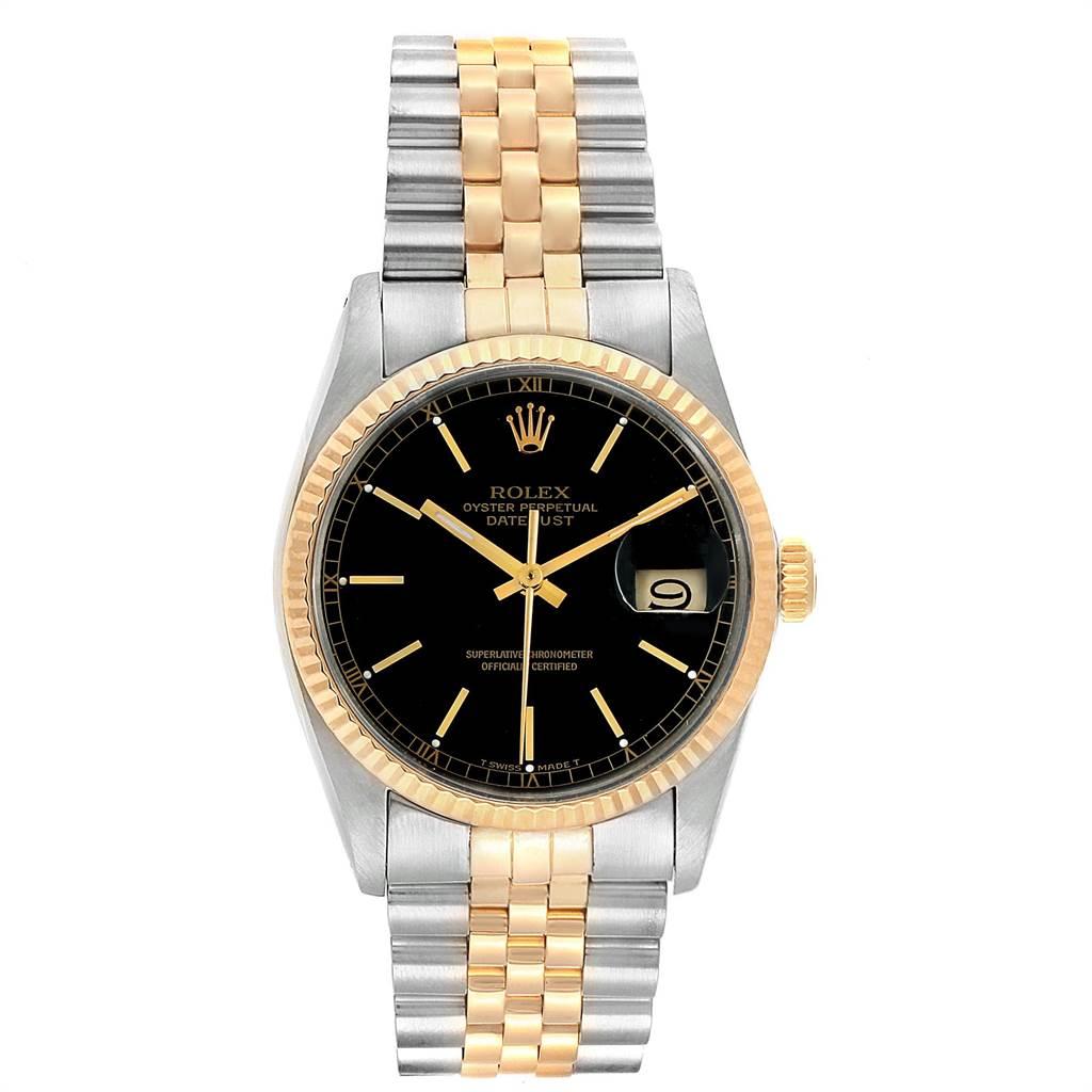 28802 Rolex Datejust Steel Yellow Gold Black Dial Vintage Mens Watch 16013 SwissWatchExpo