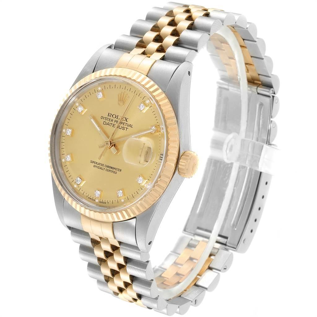 23272 Rolex Datejust 36 Steel Yellow Gold Diamond Vintage Mens Watch 16013 SwissWatchExpo