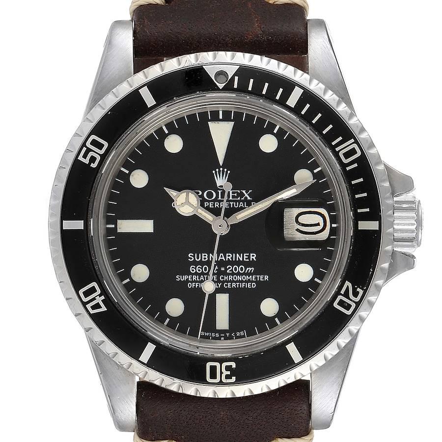 Rolex Submariner Vintage Brown Strap Steel Mens Watch 1680 SwissWatchExpo