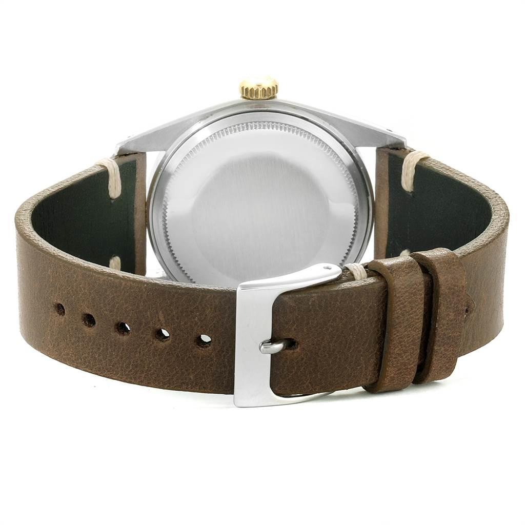7714X Rolex Datejust Steel Yellow Gold Brown Strap Vintage Mens Watch 1601 SwissWatchExpo