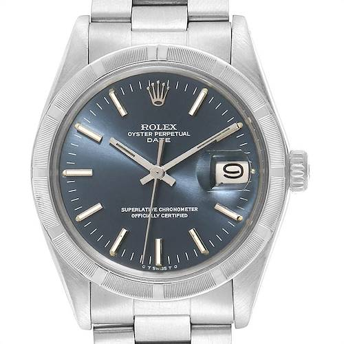 Photo of Rolex Date Vintage Blue Dial Stainless Steel Mens Watch 1501