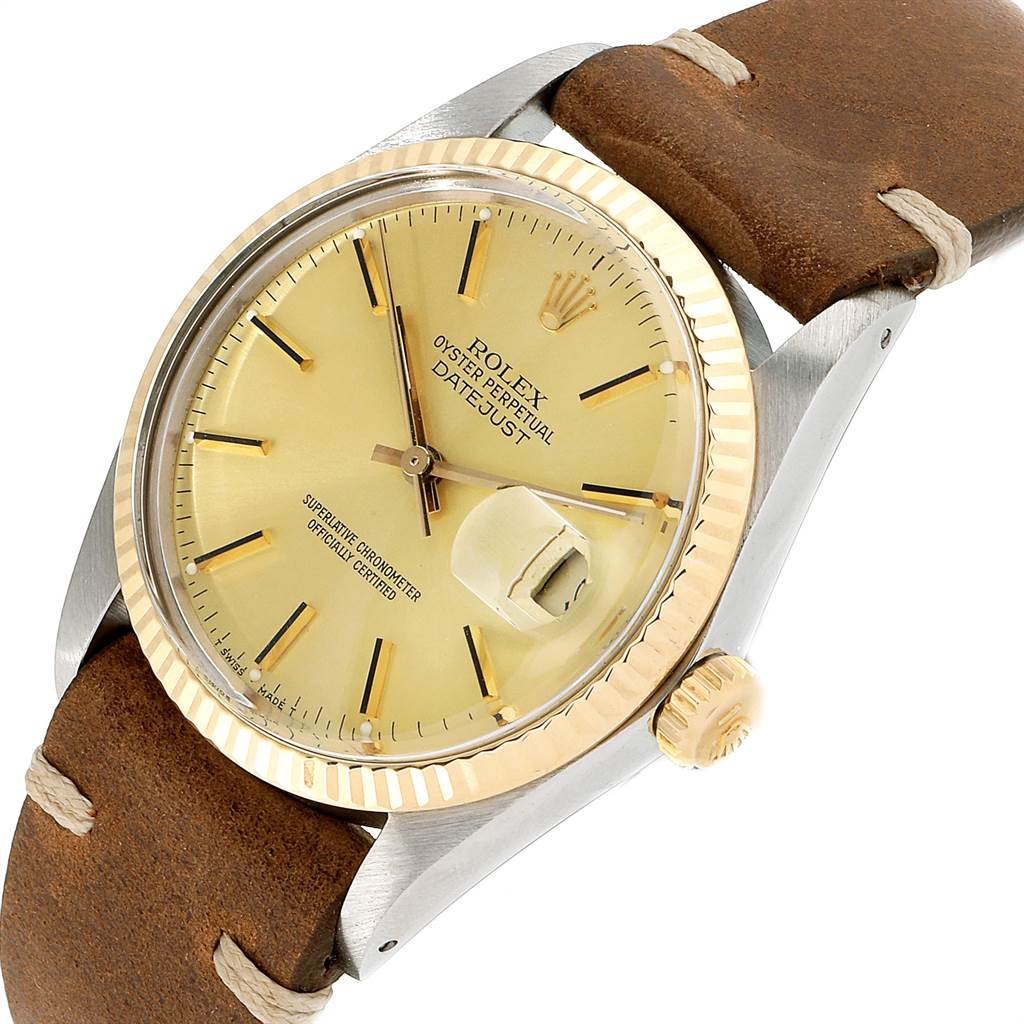22778 Rolex Datejust Steel Yellow Gold Brown Strap Vintage Mens Watch 16013 SwissWatchExpo
